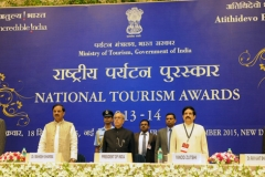 The President, Shri Pranab Mukherjee at the presentation of the National Tourism Awards 2013-14, at a function, in New Delhi on September 18, 2015.  	The Minister of State for Culture (Independent Charge), Tourism (Independent Charge) and Civil Aviation, Dr. Mahesh Sharma and other dignitaries are also seen.